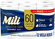 Papel Higiênico Folha Dupla 12Rolos, Mili, 60 Metros