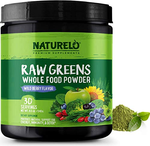 NATURELO Raw Greens Superfood Powder – Best Supplement to Boost Energy, Detox, Enhance Health – Organic Spirulina & Wheat Grass – Whole Food Vitamins from Fruit & Vegetable Extracts – 30 Servings
