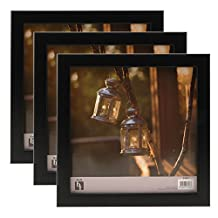 BorderTrends Echo 8x8-Inch Square Wall Photo Frame, Matte Black (3-Pack)