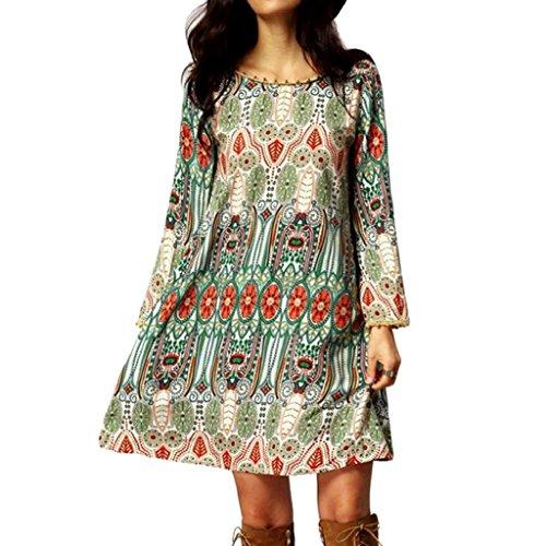 SCASTOE Women Vintage Printed Dress Bohemian Back V Neck Long Sleeve Ethnic Summer Shift Tunic Dress