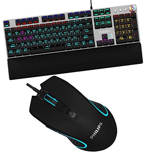 Kit Gamer Teclado E Mouse Philipis Com Fio Luz Led Hz35