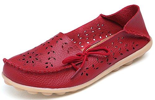 Summerwhisper Comfortabele Dames Holle Rijlaarzen Leren Instappers Loafers Bootschoenen Rood