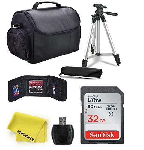 Professional Accessory Bundle Kit by BRENDAZ for all Canon, Nikon, Sony, Panasonic SLR /DSLR Camera and Camcorder. Includes Tripod w/ Case, 32GB SDHC, Card Reader Carry Bag, Card Wallet, Lens Cloth.
