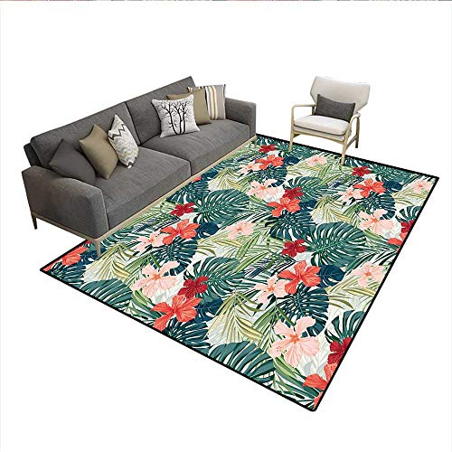 Carpet,Summer Beach Holiday Themed Hibiscus Plumeria Crepe Ginger Flowers,Area Silky Smooth Rugs,Pink Red Green and Dark Green 6'x9' ()