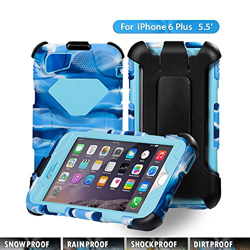 iPhone 6 Plus case,ACEGUARDER Brand Rainproof Dirtproof Shockproof Cover Case with Kickstand and Locking Belt Swivel Clip for iPhone 6 5.5-inch (Navy/Light blue)
