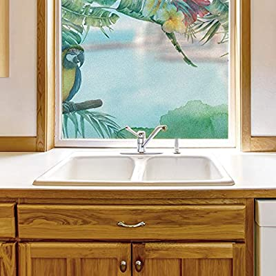 Window Film for Privacy Story Plants Large Decorative Glass Sticker for Office Home Meeting Room Bathroom Self Adhesive Anti UV Removable Flims, Created By a Professional Artist, Fascinating Portrait