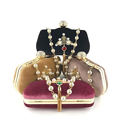 Donna Pochette Diamanti Borsa Oro In Borsa In Da Con Perle 1 In Nappa In E Metallo Flanella Cinturino Da Fibbia Sera Di 3 Con xqwqtczI1H