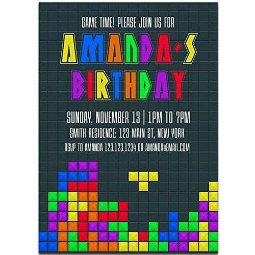 Amazon Com Video Gaming Tetris Birthday Party Invitations