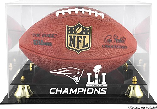 Sports Memorabilia New England Patriots Super Bowl LI Champions Golden Classic Football Logo Display Case - Football Logo Display Cases