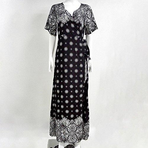 Honghu Verano Trompeta Mangas Corta Las puntas abiertas V-culleo Vestido para Mujer Estación Balnearia Maxi Dress Negro