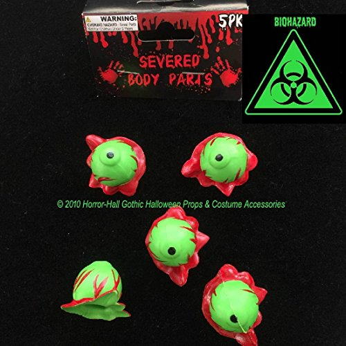 Toxic Biohazard-GREEN SEVERED EYEBALLS-Body Part-Mad Scientist Lab ZOMBIE (Disney Halloween Treat Part 6)