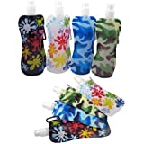 Set of 8 Water2Go Flexible Collapsible Foldable Reusable Water Bottles 4 Different Styles