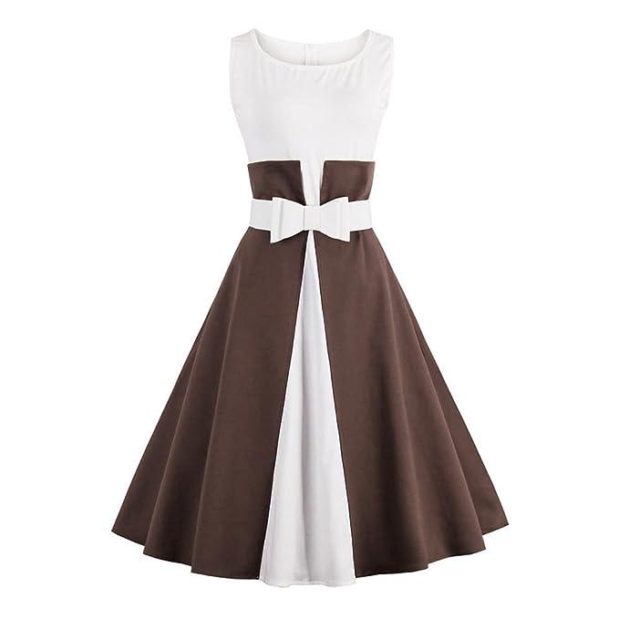 Dresslily Vintage Rockabilly - Vestido estilo retro Marrón café Medium