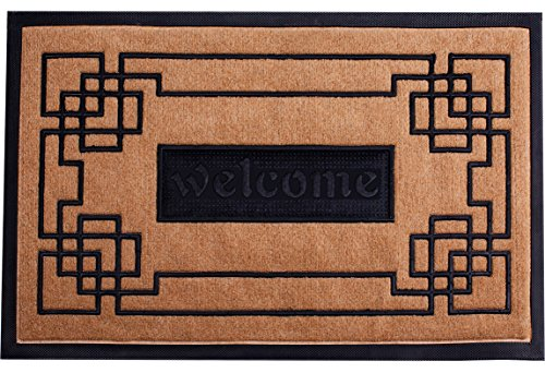 Welcome Mat Outdoor/Indoor Slonser Doormat 18x30 Heavy Duty Waterproof Front Door Mats Outside Inside Use Decorative Modern Rubber Entrance Mat for Home - Easy To Clean Surface - LIMITED TIME OFFER