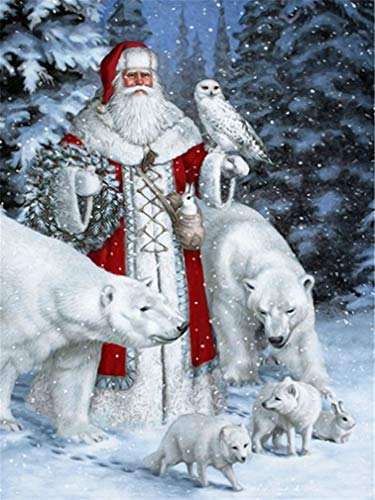 YEESAM ART DIY Paint by Numbers for Adults Beginner Kids, Christmas Santa Claus Snow Wolves Eagle Animals 16x20 inch Linen Canvas Acrylic Stress Less Number Painting Gifts (Santa Claus, with Frame) ()