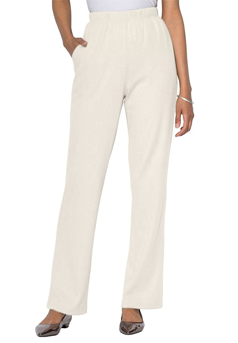 a26cc9d7435 Amazon.com  Roaman s Women s Plus Size Petite Classic Soft Knit Pants