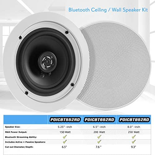 """Pyle 10.1010"""" Pair Bluetooth Flush Mount In-wall In-ceiling 10-Way Speaker  System Quick Connections Changeable Round/Square Grill Polypropylene Cone &"""