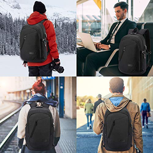 Laptop Backpack with USB Charging Port Wolf and Full Moon Travel Backpacks Daypack for Women Men