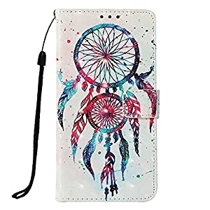 LG Aristo 2 Case, LG Tribute Dynasty Case, JanCalm [Wrist Strap] [Kickstand] [3D Painted] [Card/Cash Slots] Pattern PU Leather Wallet Magnetic Flip Folio Cover + Crystal pen