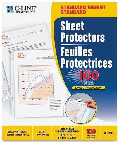 """Letter 8.50/"""" X 11/"""" C-line Polypropylene Top Loading Sheet Protector"""