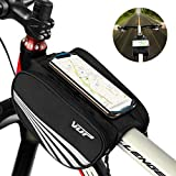 VUP Bike Top Tube Bag, Waterproof Front Frame Bike Bag with Large Storage, Universal Bicycle Motorcycle Handlebar Bag Fits All 4'-6.5' Cellphones for iPhone, Samsung, LG, Google, Nubia, HTC and More