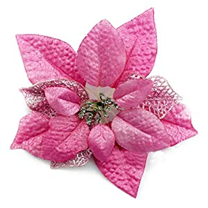 YJBear 10 pcs 7.8 Inch Christmas Glitter Hollow Artificial Poinsettia Fake Flower Christmas Tree Decoration Xmas Wedding Party Flower Home Decor Pink 4