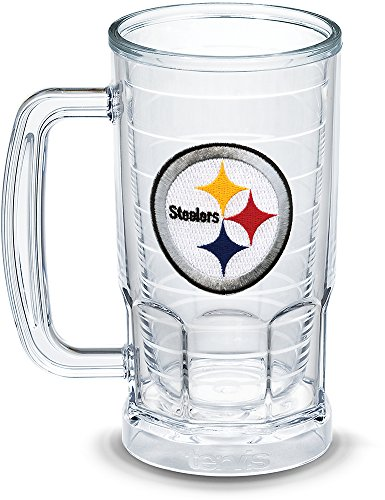 (Tervis 1303323 NFL Pittsburgh Steelers Primary Logo Insulated Tumbler with Emblem, 16oz Beer Mug, Clear)