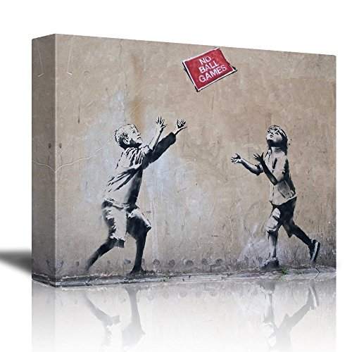 No Ball Games by Banksy Boy and Girl Playing Below A Sign