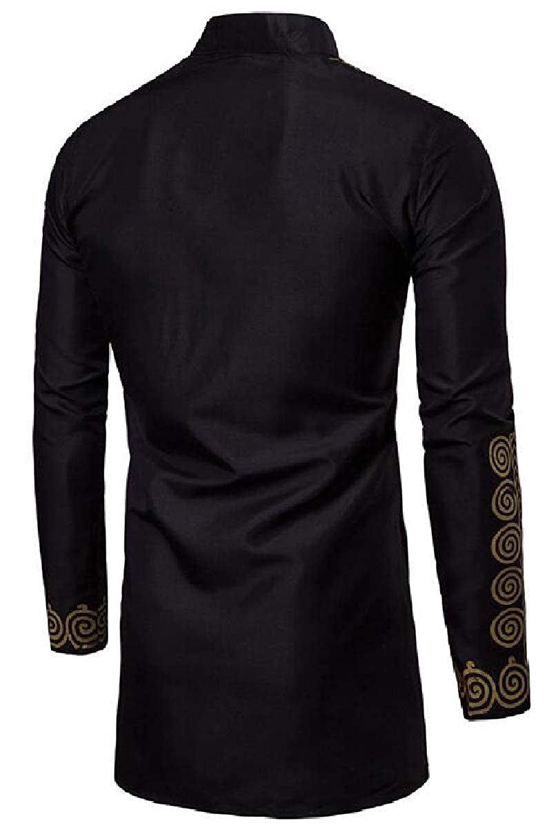 Z.Tianci Mens Middle East Style Print Loose Long Sleeve Tunic Shirt Robe