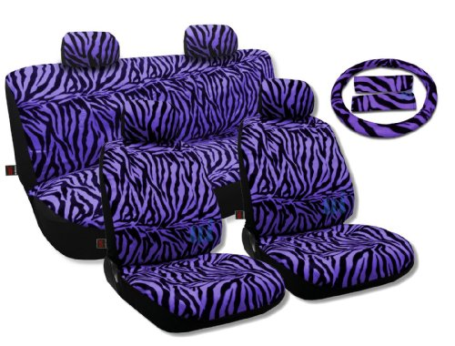 Animal Print Seat Covers Universal Sedan Set Front Pair Bench Steering Wheel Vivid Purple For Nissan Sentra