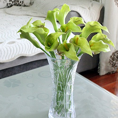 [Ieasycan 10 Bunches Each Bunch 5 Pcs 14 Inches High Wholesale Calla Lily Bridal Wedding Bouquet 1 Head Latex Real Touch Flower Bouquets] (Calla Lily Arch)