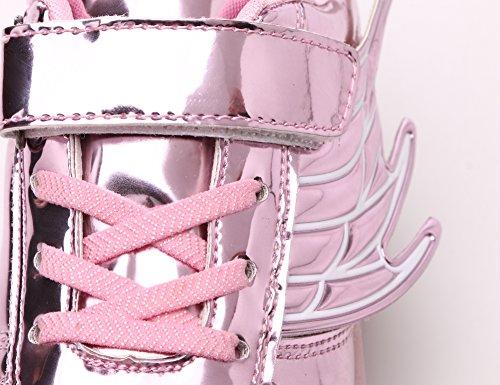 Mr.Ang luces LED colorido parpadeante ruedas de patines de rueda patín zapatos zapatos del patín zapatos deportivos niños y niñas de calzado deportivo zapatillas con ruedas zapatos de skate neutra 02 Rose