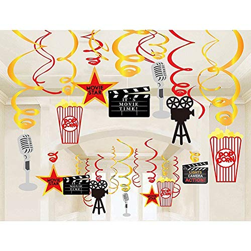 Stechop Movie Night Party Supplies, Hanging Swirl Decorations, Birthday Party Decor Ceiling Streamers - 30pcs Movie Theme Party Decorations