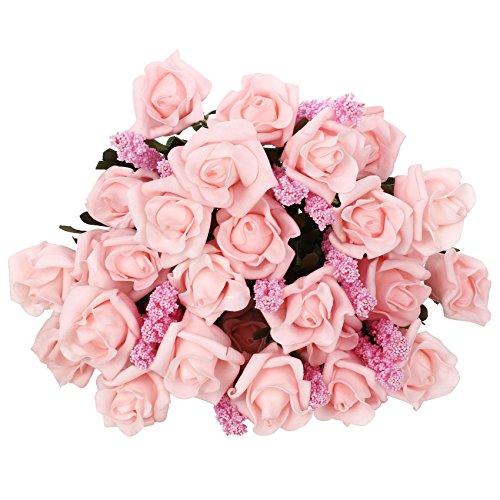SOLED 9 Heads Roll Heart Roses lavender Silk Flower Arrangement Artificial Fake Bouquet Wedding Home Garden Decor - 5 Bundles(45 flowers) (Pink)