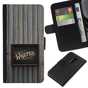 Be-Star la tarjeta de Crédito Slots PU Funda de cuero Monedero caso cubierta de piel Para LG G2 D800 ( Wasted Drunk Alcohol Gold Frame )