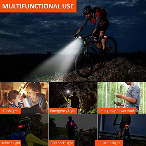 Bike Lights Set, Bovon 800 Lumens USB Rechargeable Bicycle LED Front Light & Back Tail Light, 5 Adjustable Lightness & Flashlight with Waterproof IPX5 & Easy Install & 6-50Hrs Running Time