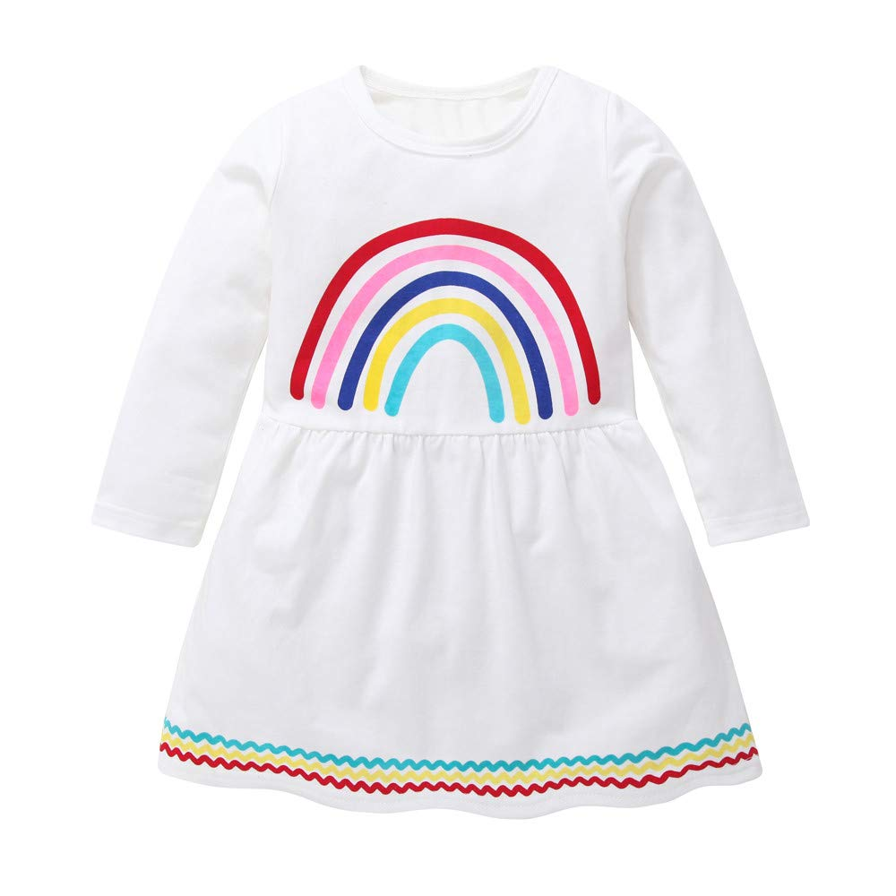 kaiCran Girls Rainbow Dress Long Sleeve Crew Neck Casual Dress Size 1-5 Years