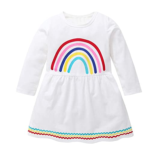 a27dff6f65d0 Amazon.com  KONFA Teen Toddler Baby Girls Rainbow Print Party Dress ...