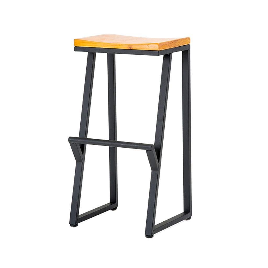 75CM Retro Iron Art Bar Stool, Loft Industry Solid Wood High Stool Restaurant Dining Stool Reception Desk Stool Bar Counter High Stool,85CM