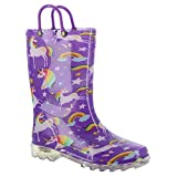 Western Chief Girls' Waterproof Rain Boots That Light Up Each Step, Rainbow Unicorn, 8 M US Toddler