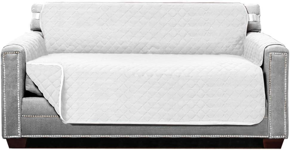 Sofa Shield Original Patent Pending Reversible Loveseat Protector, Many Colors, Seat Width to 54 Inch, Furniture Slipcover, 2 Inch Strap, Couch Slip Cover Throw for Pets, Dogs, Love Seat, White