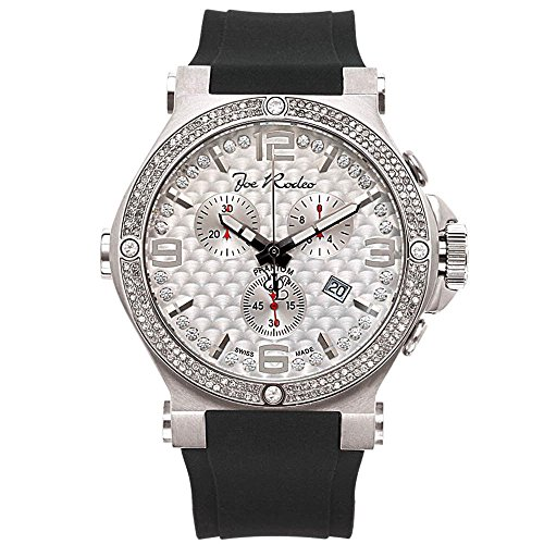 Joe Rodeo JPTM68 Phantom Diamond Watch, White Dial with Black Band by Joe Rodeo