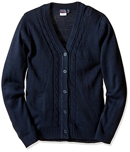 Nautica Plus Girls' Uniform Boyfriend Sweater with Seed Stitch, Navy, XX-Large