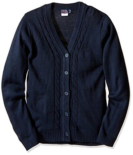 Nautica Big Girls' Uniform Boyfriend Sweater With Seed Stitch, Navy, Large