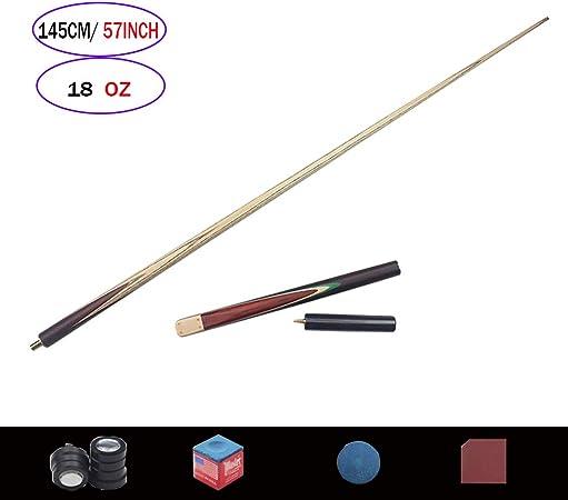 XZYY Taco Billar Snooker 3/4 Palos De Billar Split Pool Cue Pole 145cm/57 18 Oz,Control Fácil,Punta Pequeña De 9.8 Mm,Madera Maciza,Dividido En 2 Partes(articulado): Amazon.es: Hogar