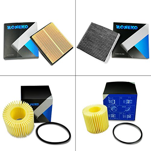 Maintenance Series Oil Filter Kit (ZONEKO Premium Filter Kit: Air filter, cabin air filter and oil filter for TOYOTA Prius 2009 2010 2011 2012 2013 2014 2015 (Set of 4) (Not For Prius C/V))