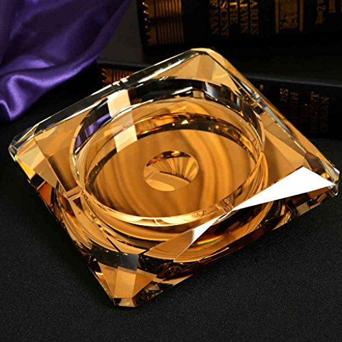 Home Windproof Ashtray Crystal Glass Cigar Living Room Office Indoor And Outdoor Ashtray (Gold) ( Size : 25CM ) by LTM Ashtray