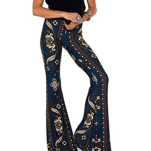 Loisirs 1 Mode Élastische Élégant Fit Vêtement Plage Tissu Taille Hipster De Imprimés Longs Pantalons Haute Pantalon Vêtements D'été Femme Couleur Motif Slim 1qtwa8dax