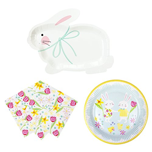 Talking Tables Hop to It Bunny Party Bundle for an Easter Celebration or Children's Party | Bunny Shaped & Printed Paper Plates & Napkins