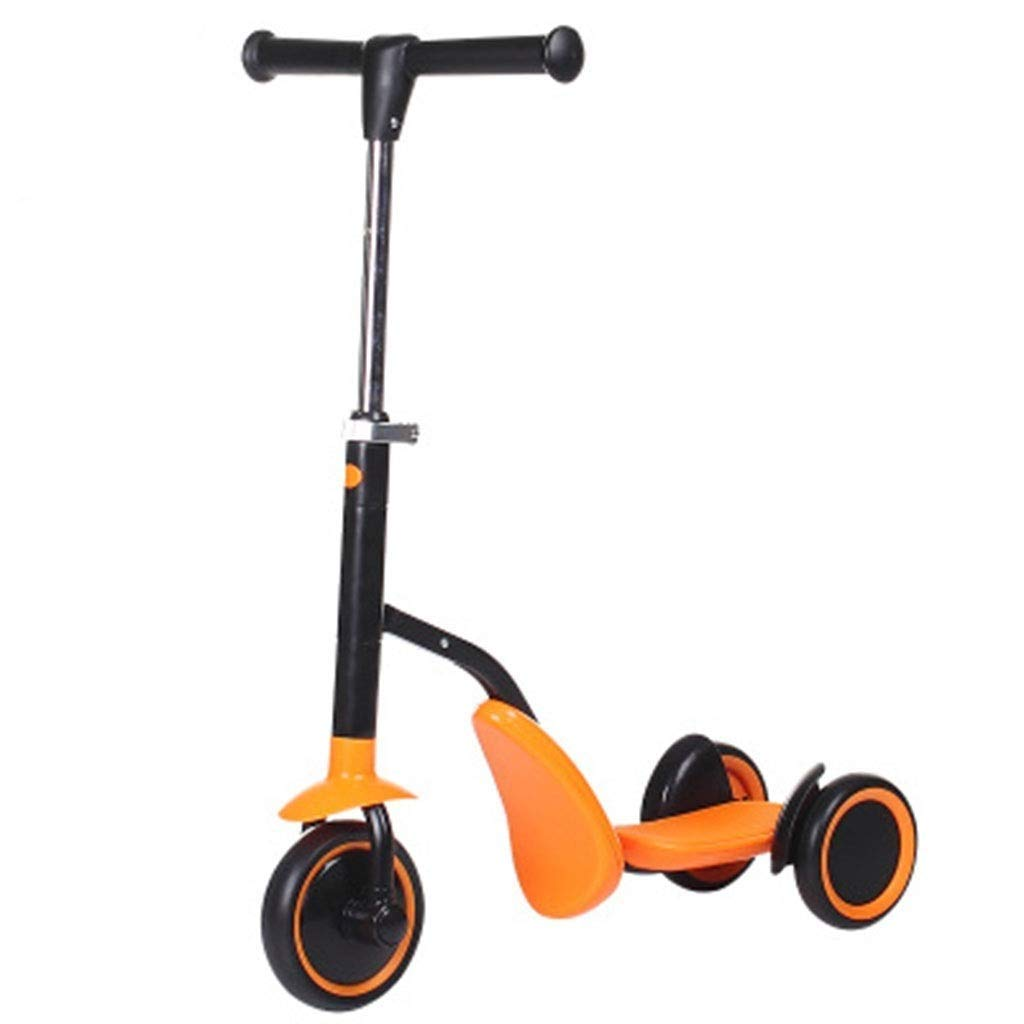 MGIZLJJ 2-in-1 Scooter for Kids with Folding Removable Seat Zero Assembling Adjustable Height Kick Scooter for Toddlers Girls & Boys Fun Outdoor Toys for Kids Fitness 3 PU Flashing Wheels Extra Wide D by MGIZLJJ